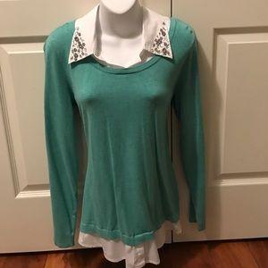 INC rhinestone collared sweater
